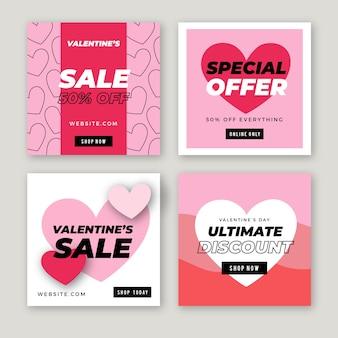 Coleção de postagens do instagram de venda de dia dos namorados