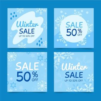 Coleção de postagens do instagram de venda de inverno