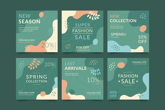 Coleção de postagens do instagram de venda de moda