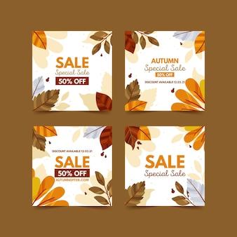 Coleção de postagens do instagram de venda de outono