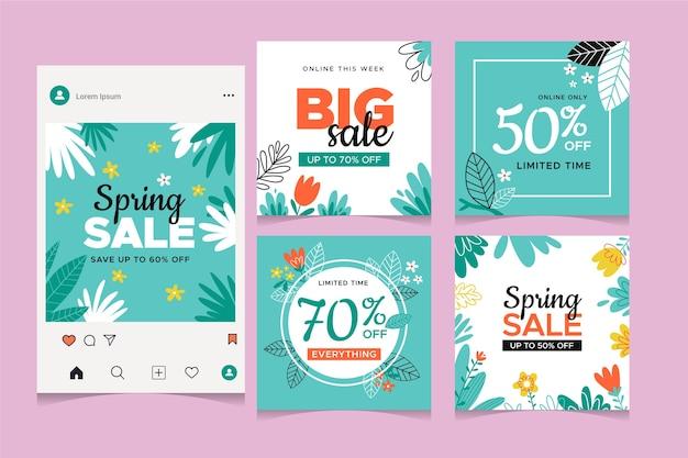 Coleção de postagens do instagram de venda de primavera