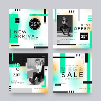 Coleção de postagens do instagram de venda gradiente