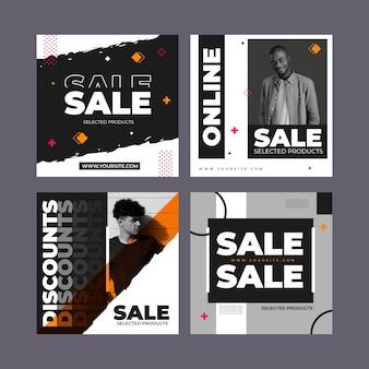 Coleção de postagens do instagram de venda plana