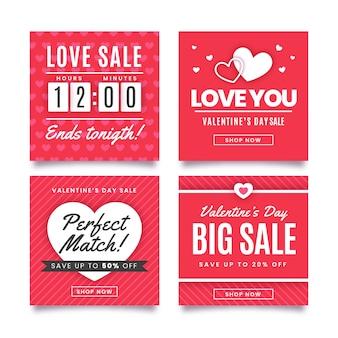 Coleção de postagens do instagram de venda vermelha do dia dos namorados