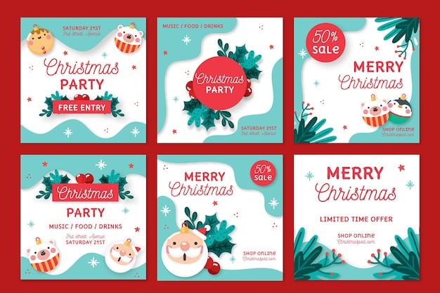 Coleção de postagens do instagram de vendas de natal