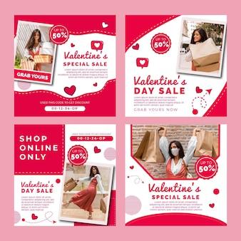 Coleção de postagens do instagram de vendas do dia dos namorados