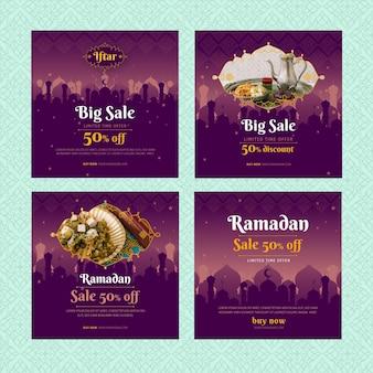 Coleção de postagens do instagram de vendas do ramadã
