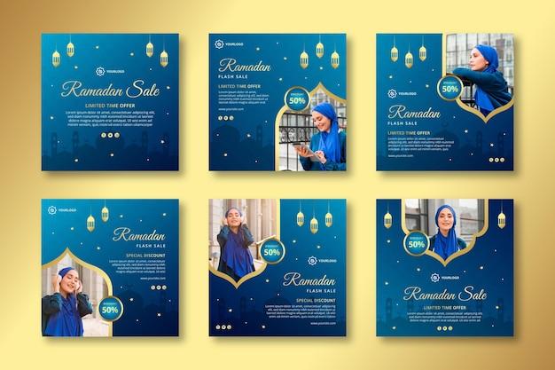 Coleção de postagens do instagram de vendas ramadan