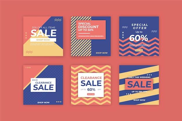 Coleção de postagens do instagram de vendas