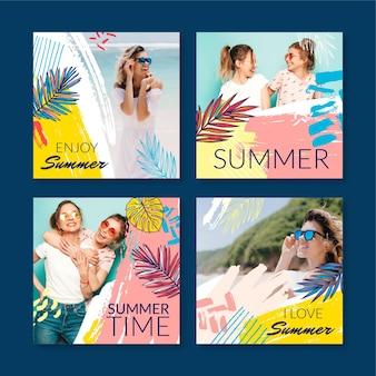Coleção de postagens do instagram de verão desenhada à mão com foto