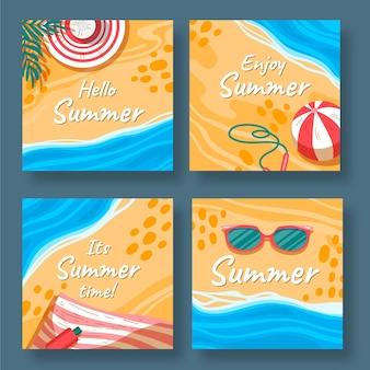 Coleção de postagens do instagram de verão desenhada à mão