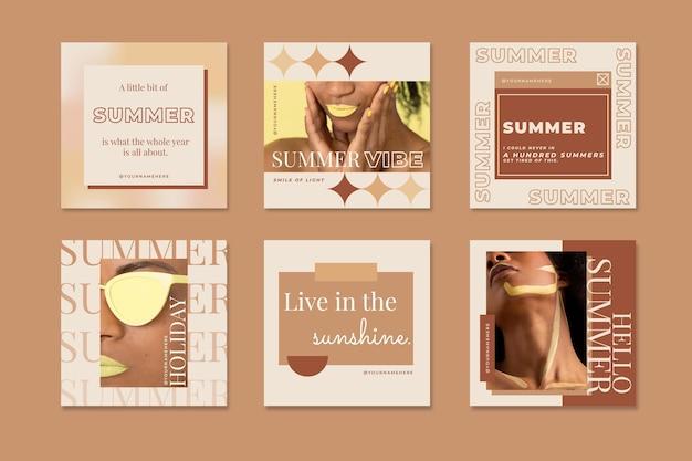 Coleção de postagens do instagram de verão plana com foto