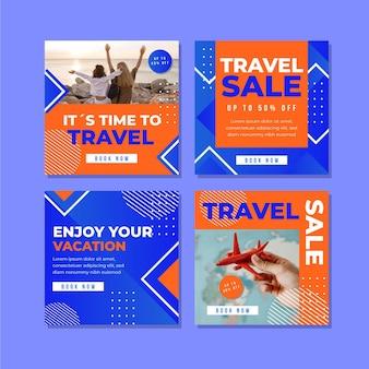 Coleção de postagens do instagram de viagens de design plano