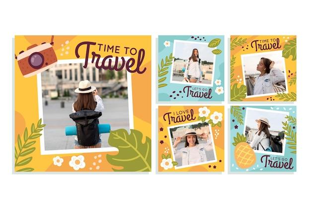 Coleção de postagens do instagram de viagens desenhada à mão