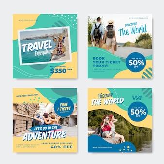 Coleção de postagens do instagram de viagens planas