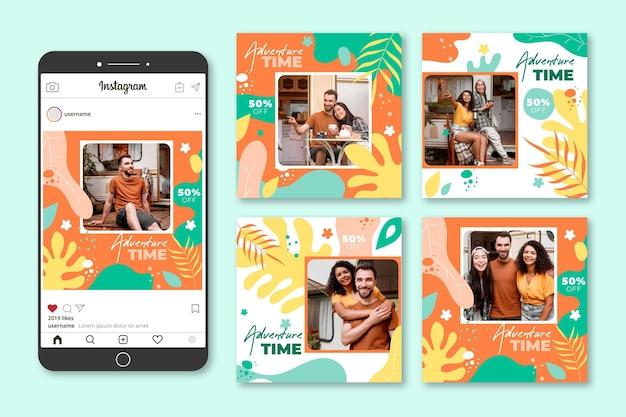 Coleção de postagens do instagram de viagens