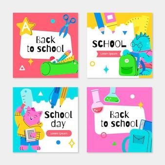 Coleção de postagens do instagram de volta à escola