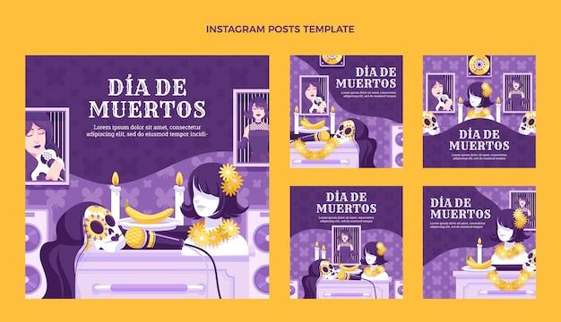Coleção de postagens do instagram desenhada à mão com diâmetros planos planos