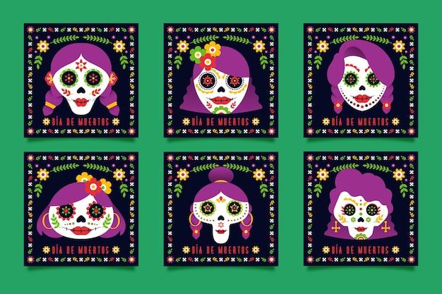 Coleção de postagens do instagram día de muertos