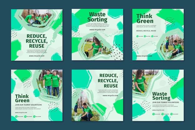 Coleção de postagens do instagram do ambiente