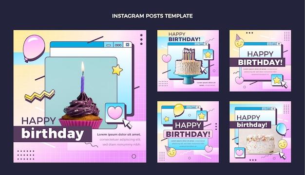 Coleção de postagens do instagram do aniversário do vaporwave retro gradiente