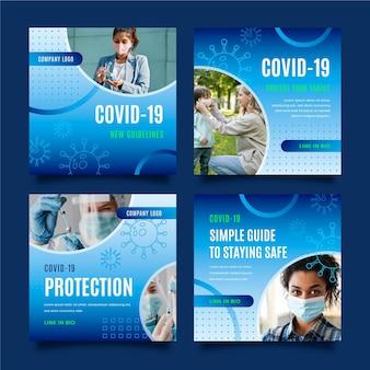 Coleção de postagens do instagram do coronavírus gradiente