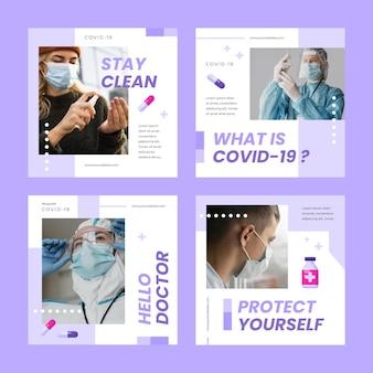 Coleção de postagens do instagram do coronavirus