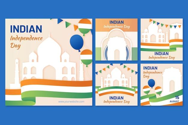 Coleção de postagens do instagram do dia da independência da índia em estilo de papel