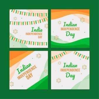Coleção de postagens do instagram do dia da independência da índia plana