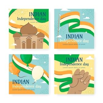 Coleção de postagens do instagram do dia da independência da índia