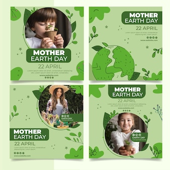 Coleção de postagens do instagram do dia da mãe terra