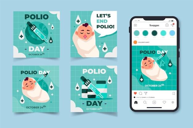 Coleção de postagens do instagram do dia da pólio no mundo plano