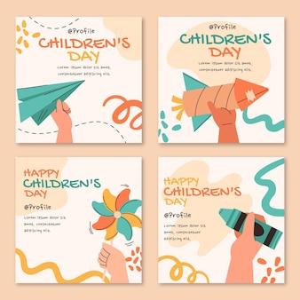 Coleção de postagens do instagram do dia das crianças desenhadas à mão