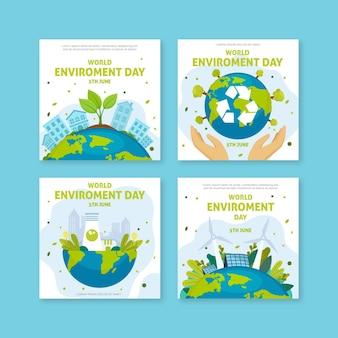 Coleção de postagens do instagram do dia do ambiente do mundo plano