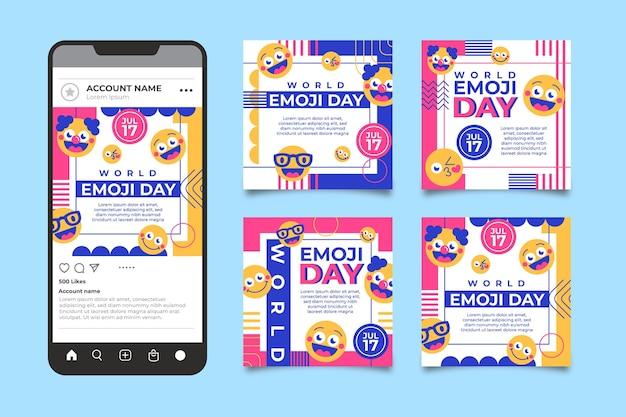 Coleção de postagens do instagram do dia do emoji do mundo plano