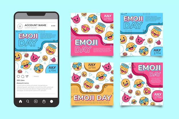 Coleção de postagens do instagram do dia do emoji do mundo plano Vetor grátis