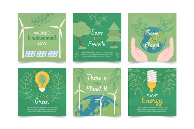 Coleção de postagens do instagram do dia do meio ambiente mundial desenhada à mão