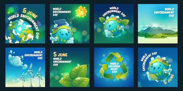 Coleção de postagens do instagram do dia do meio ambiente mundial dos desenhos animados