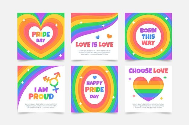 Coleção de postagens do instagram do dia do orgulho desenhada à mão
