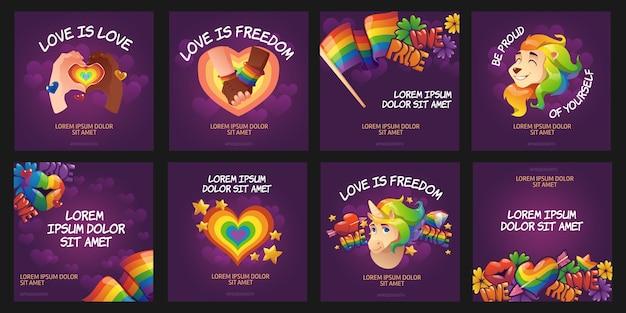 Coleção de postagens do instagram do dia do orgulho dos desenhos animados