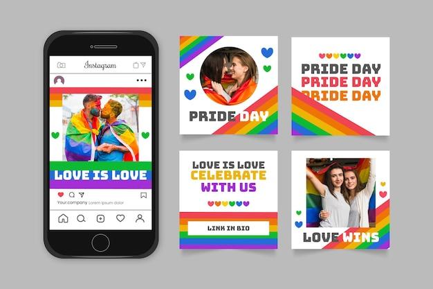 Coleção de postagens do instagram do dia do orgulho gradiente