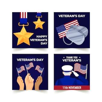 Coleção de postagens do instagram do dia do veterano desenhada à mão
