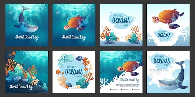 Coleção de postagens do instagram do dia dos oceanos dos desenhos animados