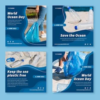 Coleção de postagens do instagram do dia dos oceanos no mundo plano