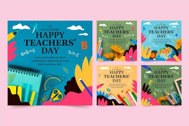 Coleção de postagens do instagram do dia dos professores desenhada à mão com foto