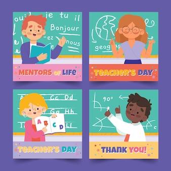 Coleção de postagens do instagram do dia dos professores desenhada à mão