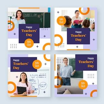 Coleção de postagens do instagram do dia dos professores plana com foto