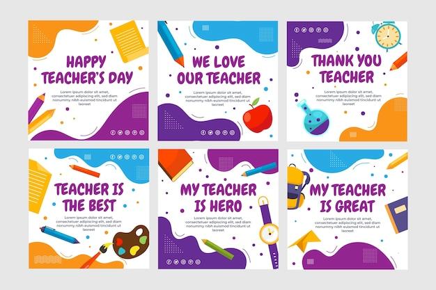 Coleção de postagens do instagram do dia dos professores plana