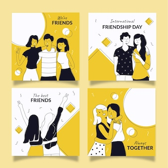 Coleção de postagens do instagram do dia internacional da amizade desenhada à mão