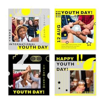 Coleção de postagens do instagram do dia internacional da juventude com foto